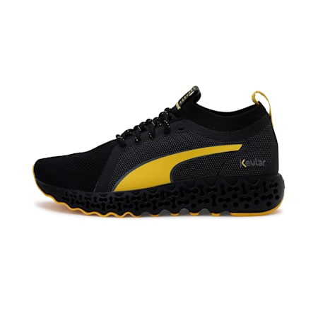Calibrate Kevlar Running Shoes, Puma Black-Super Lemon, small-IND