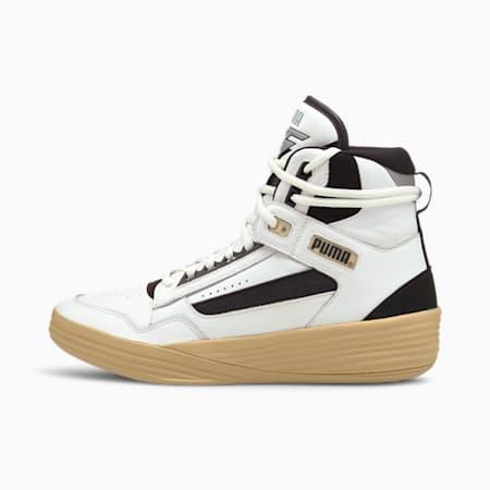 Zapatillas de baloncesto PUMA x KUZMA Clyde All-Pro de media caña para hombre, Puma White-Pebble, small