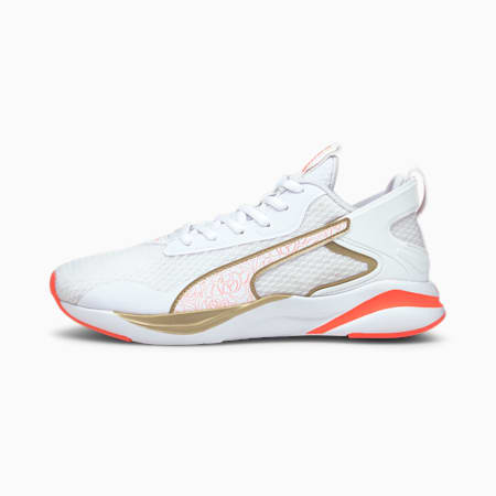 Softride Rift Tech Floral Women's Running Shoes, Puma White-Fiery Coral- Gold, small-SEA