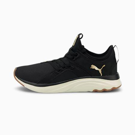 Zapatos para correrSoftRide Sophia Eco para mujer, Puma Black-Puma Team Gold-Marshmallow, pequeño