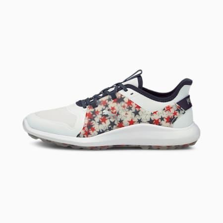 IGNITE FASTEN8 USA Men's Golf Shoes, White-Blazer-High Risk Red, small