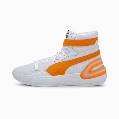 Sky Modern Trevor Project Basketball Shoes, Puma White-Orange Popsicle, small