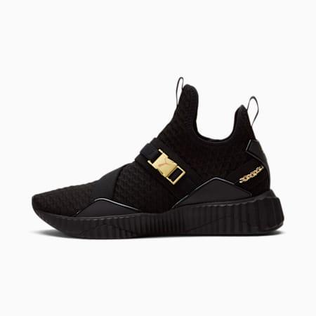 Zapatos de entrenamiento de media caña Defy para mujer, Puma Black-dorado, pequeño