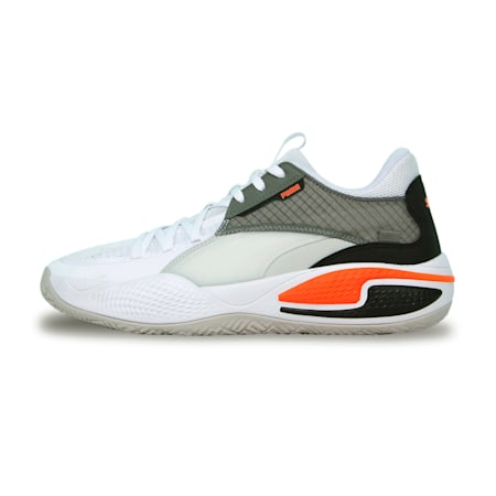 Court Rider Basketball Shoes, Puma White-Nrgy Red, small