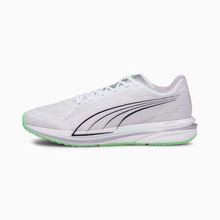 Zapatos para correr Velocity NITRO COOLadaptpara hombre, White-Black-Elektro Green, pequeño