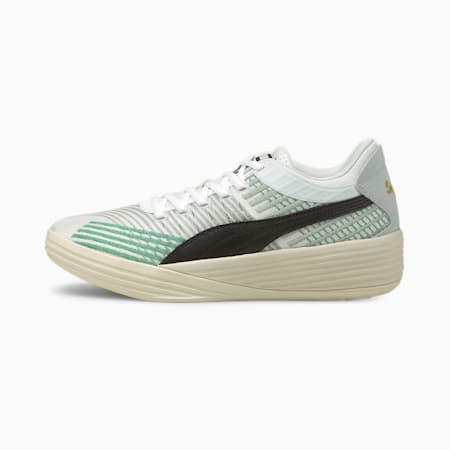 Zapatos para básquetbol Clyde All-Pro Coast 2 Coast, Puma White-Power Green, pequeño