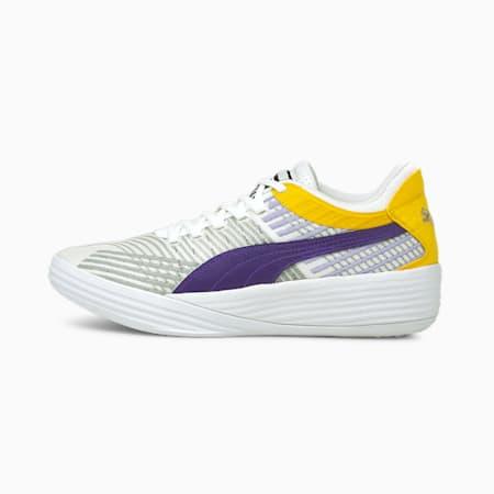 Zapatos para básquetbol Clyde All-Pro Coast 2 Coast, Puma White-Prism Violet, pequeño