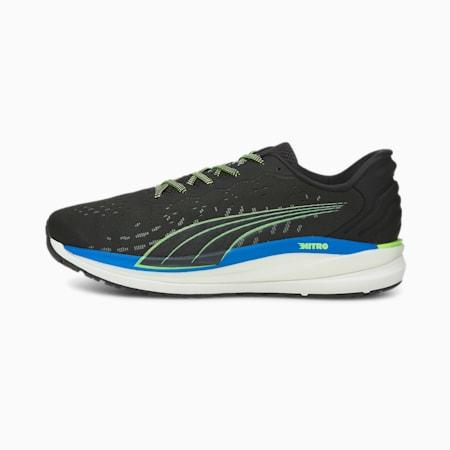 Magnify Nitro Men's Running Shoes, Puma Black-Green Glare-Future Blue, small-GBR