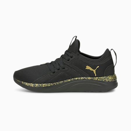 Zapatos para correrSoftRide Sophia Shimmer para mujer, Puma Black-Puma Team Gold, pequeño