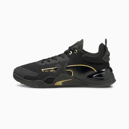 Zapatos deportivos Fuse Moto para mujer, Puma Black-Puma Team Gold, pequeño