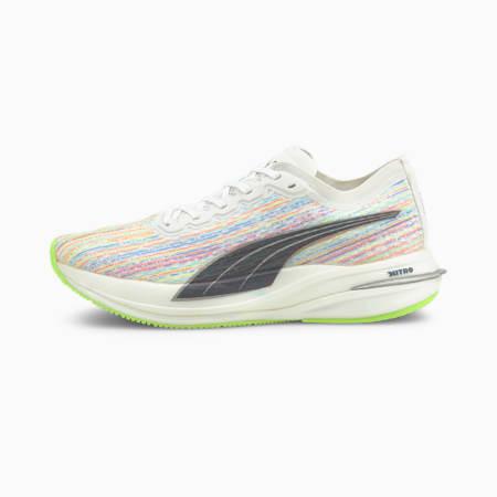 Deviate Nitro Spectra Women's Running Shoes, Puma White-Green Glare, small