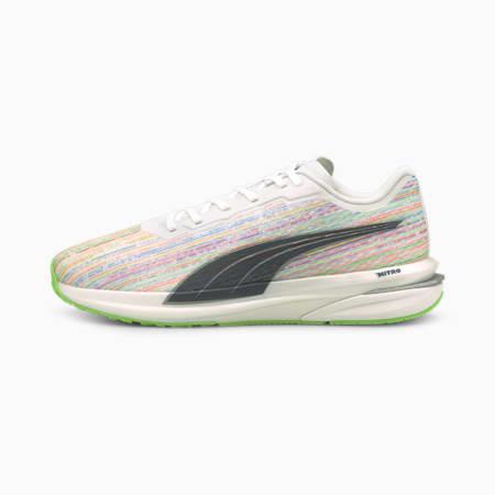 Zapatos deportivos para correr Velocity Nitro Spectra para hombre, Puma White-Spellbound-Green Glare, pequeño