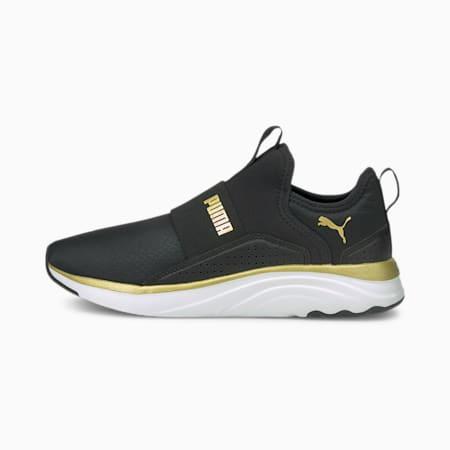 Softride Sophia Shine Women's Slip-On Running Shoes, Puma Black-Puma Team Gold, small-IND