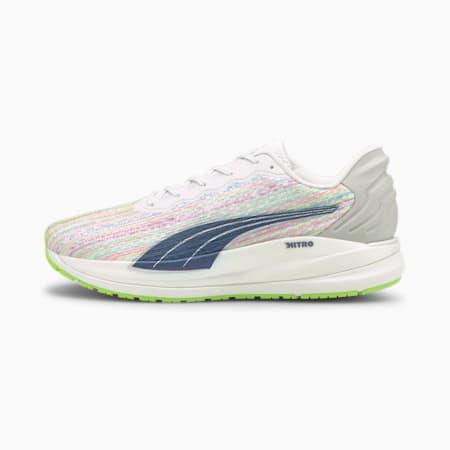 Zapatos para correr Magnify Nitro SP para hombre, Puma White-Sunblaze-Green Glare, pequeño
