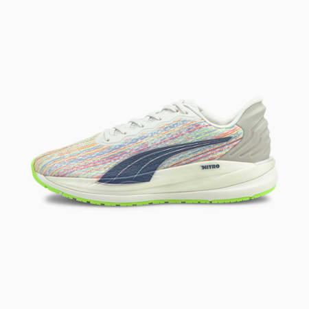 Magnify Nitro SP Women's Running Shoes, Puma White-Sunblaze-Green Glare, small