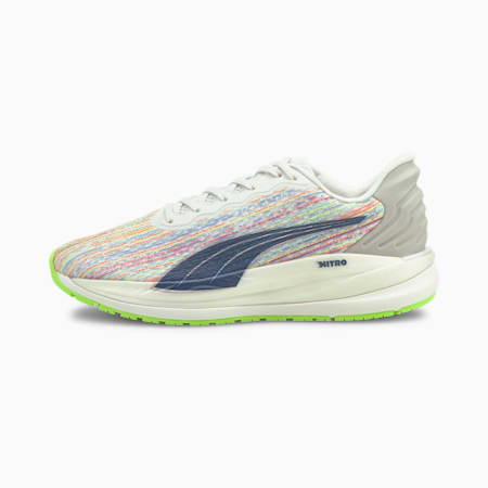 Magnify Nitro SP Women's Running Shoes, Puma White-Sunblaze-Green Glare, small-SEA