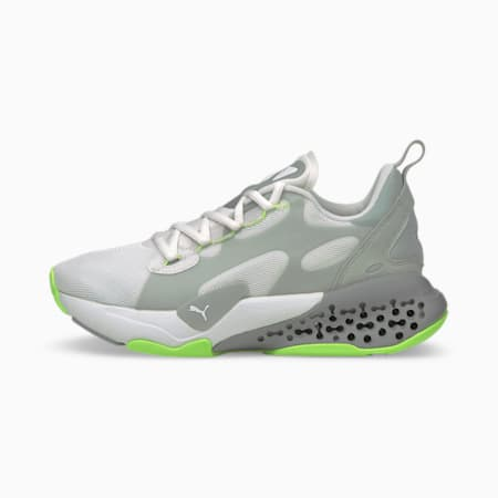 Zapatos deportivos Xetic Halflife para mujer, Puma White-Quarry-Green Glare, pequeño