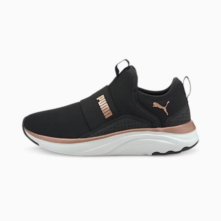 Softride Sophia Girl's Slip-On Running Shoes, Puma Black-Rose Gold-Puma White, small-IND