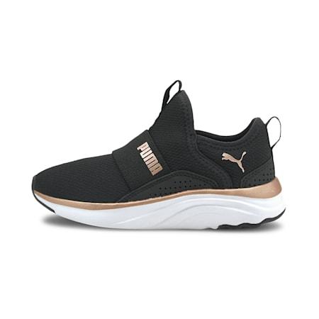 Zapatos deportivos sin cordones Softride Sophiapara niño pequeño, Puma Black-Rose Gold-White, pequeño