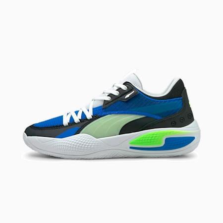プーマ コート アンド ライダー I バスケットボール シューズ, Future Blue-Green Glare, small-JPN