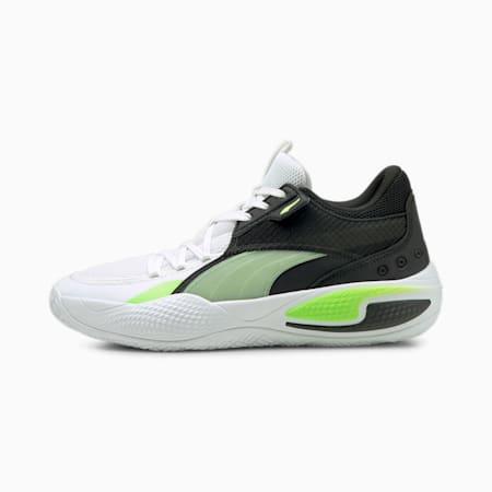 Court Rider I Basketball Shoes, Puma White-Green Glare, small-GBR