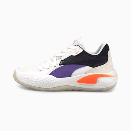Court Rider I Zapatos deportivos de básquetbol JR, Puma White-Prism Violet, pequeño