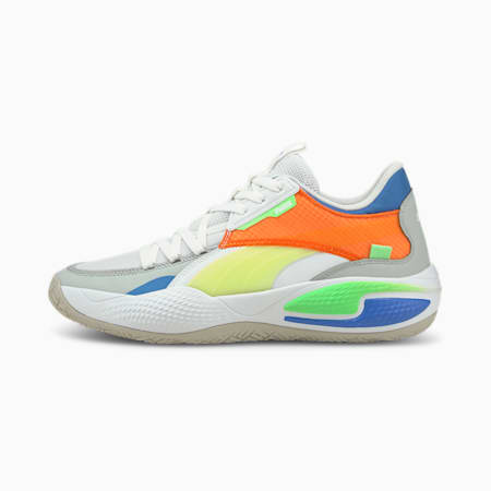 Court Rider Twofold Basketball Shoes, Puma White-Palace Blue, small-GBR