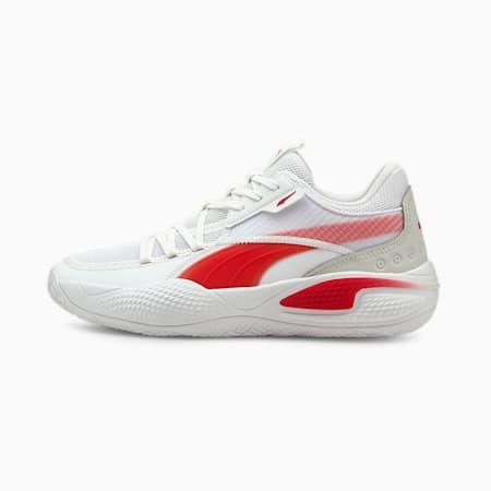 Zapatos para básquetbol Court Rider Team, Puma White-High Risk Red, pequeño