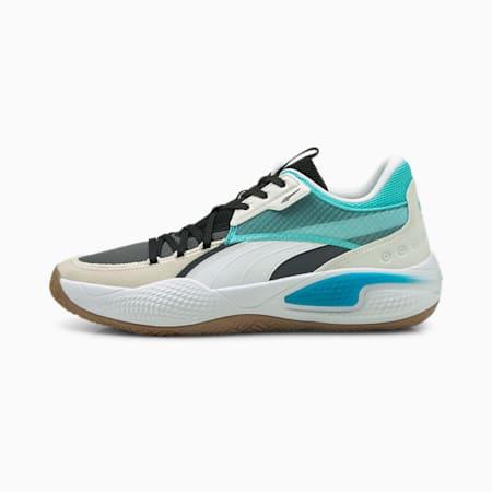 Scarpe da basket estive Court Rider, Ebony-Elektro Aqua, small
