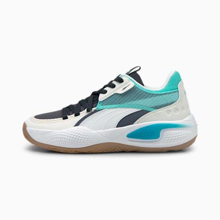Court Rider Summer Days Youth Basketball Shoes, Ebony-Elektro Aqua, small