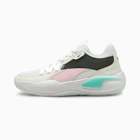 Zapatos deportivos para básquetbol Court Rider Summer Days JR, Puma White-Pink Lady, pequeño