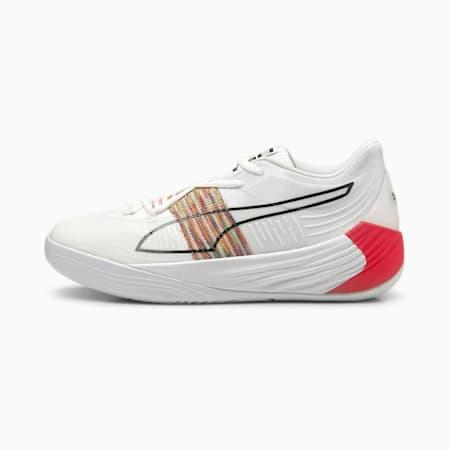 Zapatos deportivos de básquetbol Fusion Nitro Spectra, Puma White-Sunblaze, pequeño
