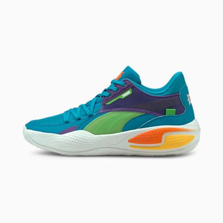 Zapatos de básquetbol PUMA x RUGRATS Court Rider, Caribbean Sea-Dragon Fire, pequeño