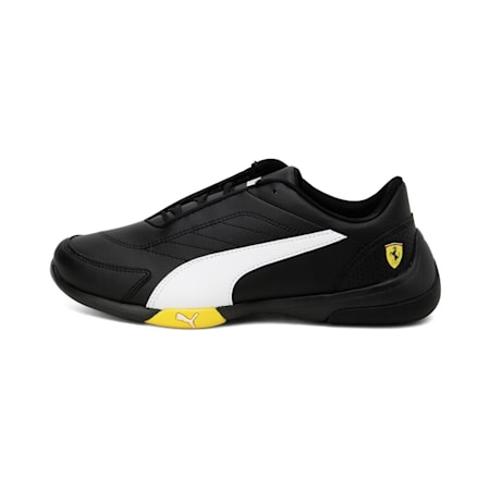 Ferrari Kart Cat III Youth Shoes, Black-White-Blazing Yellow, small-IND
