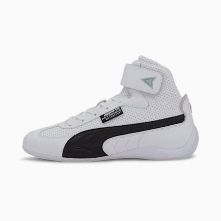 Mercedes-AMG Petronas Speedcat Mid Leather Men's Motorsport Shoes, Puma White-Puma Black, small
