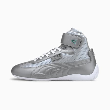 Mercedes-AMG Petronas Speedcat Mid Leather Men's Motorsport Shoes, Puma Silver-Puma White, small