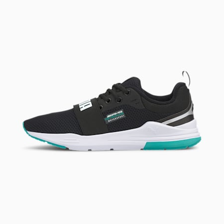 Mercedes Wired Run Unisex Shoes, P Black-P White-Spectra Grn, small-IND