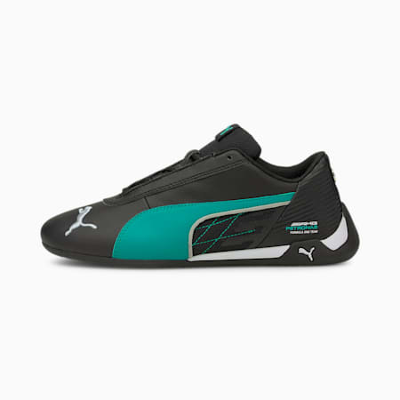 Mercedes R-Cat Youth Sneaker, Puma Black-Spectra Green, small