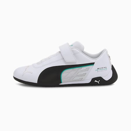 Mercedes R-Cat V Kids' Trainers, Puma White-Puma Black, small