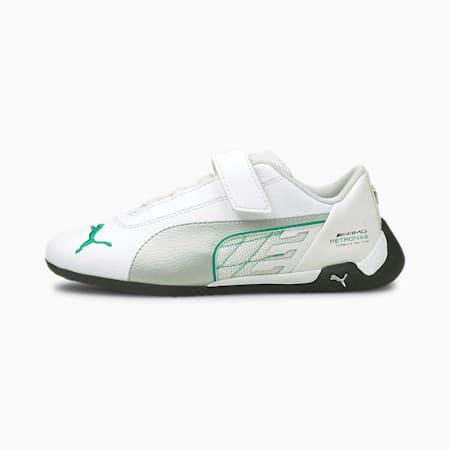 Zapatos de automovilismo Mercedes-AMG Petronas R-Catpara niños pequeños, Puma White-Puma Silver, pequeño