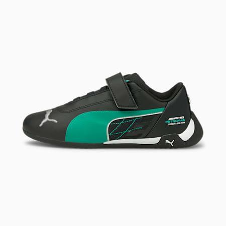 Mercedes R-Cat V Kids' Trainers, Puma Black-Spectra Green, small