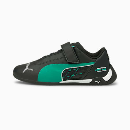 Scarpe da ginnastica da bambino Mercedes R-Cat V, Puma Black-Spectra Green, small