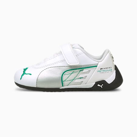 Zapatos de automovilismo Mercedes-AMG Petronas R-Catpara bebés, Puma White-Puma Silver, pequeño
