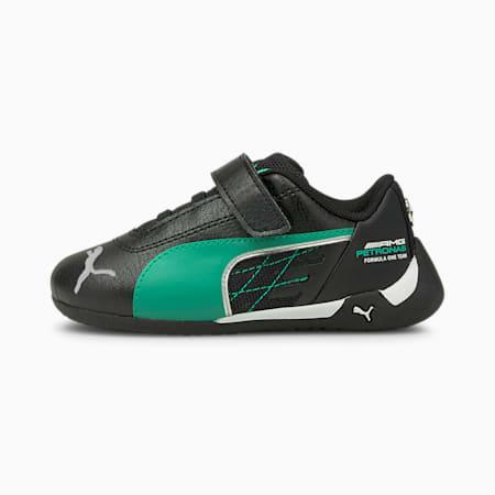 Zapatos de automovilismo Mercedes-AMG Petronas R-Catpara bebés, Puma Black-Spectra Green, pequeño
