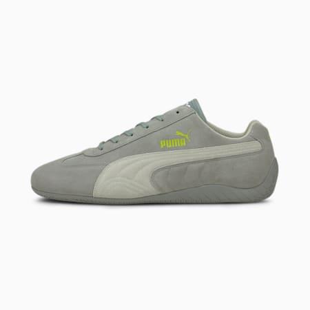 Zapatos de automovilismo Speedcat OG+ Sparcopara hombre, Quarry-Gray Violet-Nrgy Yllw, pequeño