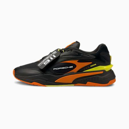Porsche Legacy RS-Fast Unisex Shoes, Puma Black-Celandine-Carrot, small-IND
