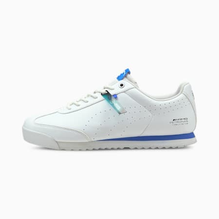 Mercedes F1 Roma Via Perforated Unisex Shoes, Puma White-Bluemazing, small-IND