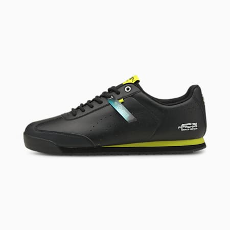 Mercedes F1 Roma Via Perforated Unisex Shoes, Puma Black-Nrgy Yellow, small-IND