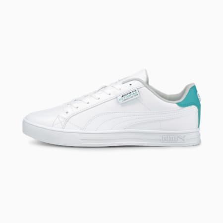 Zapatos deportivos de automovilismo Mercedes F1 Smash Vulcanised V3, Puma White-Puma White-Spectra Green, pequeño