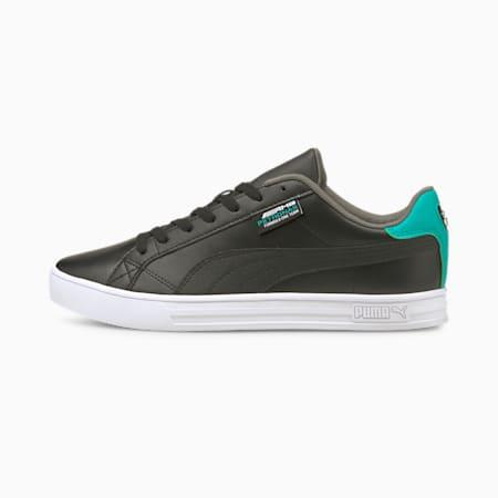 Zapatos deportivos de automovilismo Mercedes F1 Smash Vulcanised V3, Puma Black-Puma White-Spectra Green, pequeño